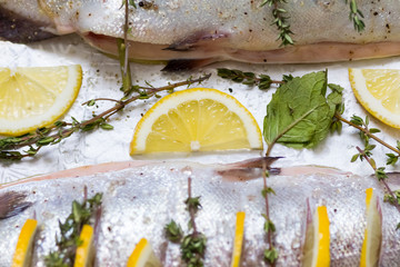 The yellow slice of lemon and a sprig of green thyme closeup next to raw fish
