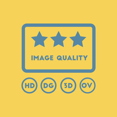 image quality with stars Vector illustration in flat style High quality picture movie