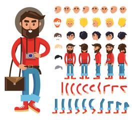 Cartoon Hipster Man Character Vector Constructor