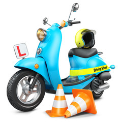 Driving school concept. Classic scooter, traffic cones and helmet