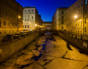 View of the embankment of the Winter canal and Hermitage bridge, Saint Petersburg, Russia