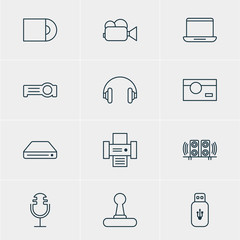 Vector Illustration Of 12 Device Icons. Editable Pack Of Memory Storage, Usb Card, Photocopier And Other Elements.