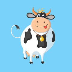 The white cow with black spots on a blue background. This drawing can be used for the design of packaging, advertising, etc.