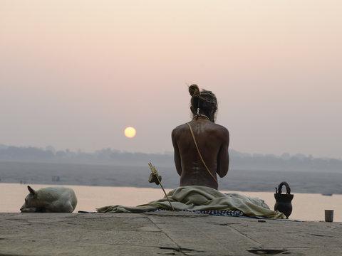 Yogi in India, Varanasi. December 2015