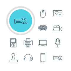 Vector Illustration Of 12 Hardware Icons. Editable Pack Of Game Controller, Cursor Controller, Loudspeaker And Other Elements.