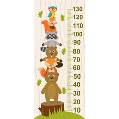 growth measure with forest animal - vector illustration, eps