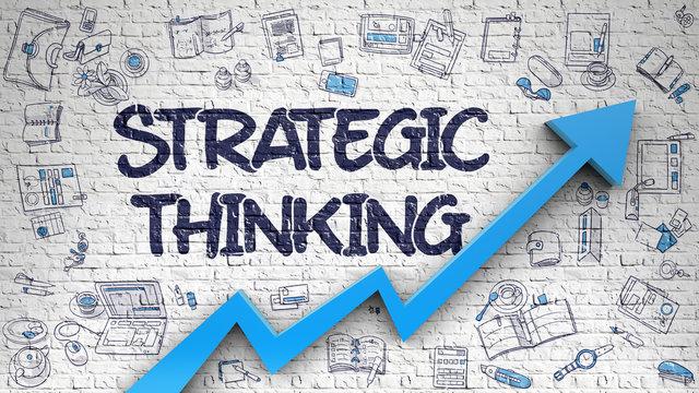 Strategic Thinking Drawn on White Brickwall. 3d.