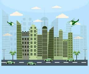City life with cars and helicopter in flat design.