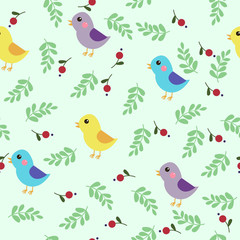 Seamless pattern with birds and flowers. Vector illustration.