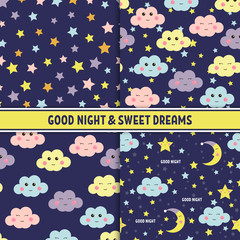Set of Good Night seamless pattern with cute sleeping moon, stars and clouds. Sweet dreams background. Vector illustration.