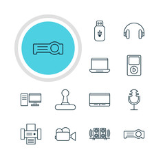 Vector Illustration Of 12 Technology Icons. Editable Pack Of Camcorder, Monitor, Usb Card And Other Elements.