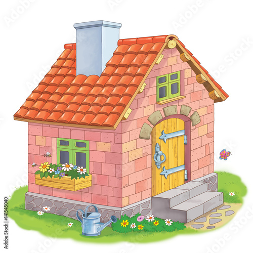 A Cute House Made Of Bricks Coloring Page