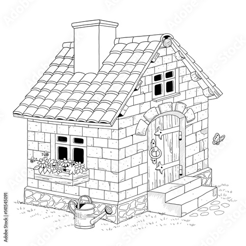 Three Little Pigs Fairy Tale A Cute House Made Of Bricks Coloring Page Illustration For Children Stock Photo And Royalty Free Images On Fotolia