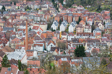 Stuttgart Aerial from Above Kessel Biulding Tight Crowded City Smokestack Landscape View