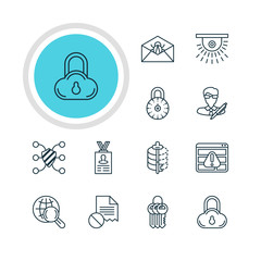 Vector Illustration Of 12 Data Protection Icons. Editable Pack Of Encoder, Data Error, Internet Surfing And Other Elements.