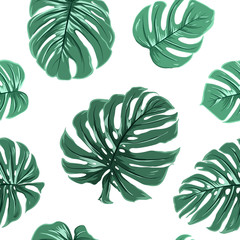 Tropical exotic big turquoise blue green monstera leaves seamless pattern on white background. Vector design illustration for textile, fabric, decoration, packaging, wrapping, fashion.