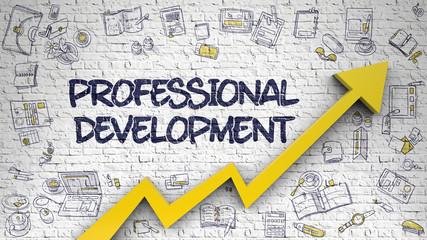 Professional Development Drawn on White Brickwall. 3d.