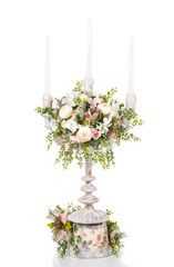 vintage candlestick with flowers isolated