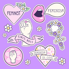 Set of vector icons about feminisim. Gender equality. Cute and cool cartoon style