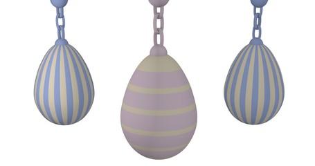 3d-Illustration, Ostereier in Pastellfarben auf weißem Hintergrund