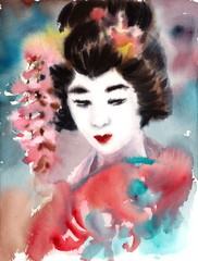 Beautiful Woman Geisha Portrait Hand Painted Watercolor Japanese Illustration