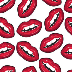 Red female lips closeup. Seamless pattern. Mouth with a teeth and lips. Vector illustration for accessories, clothes, textile, decor and other.