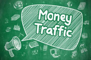 Money Traffic - Cartoon Illustration on Green Chalkboard.