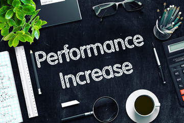 Performance Increase on Black Chalkboard. 3D Rendering.