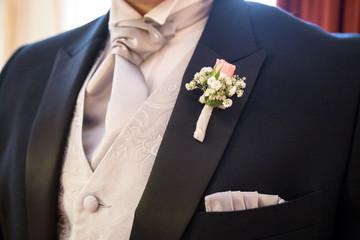 boutonniere in tuxedo