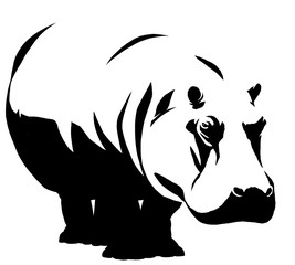 black and white linear paint draw Hippo illustration