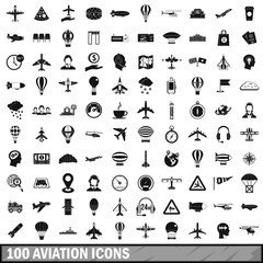 100 aviation icons set, simple style
