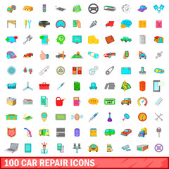 100 car repair icons set, cartoon style