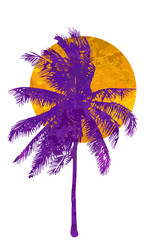 Isolated watercolor palms and sun on a white background. A tropical sunset or sunrise. Vector illustration.