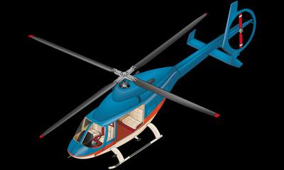 Hélicoptère bleu.
