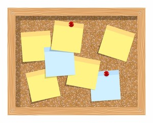 Cork board  with sheets of paper for notes. Vector background.