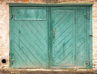 old wood warehouse door, hangar