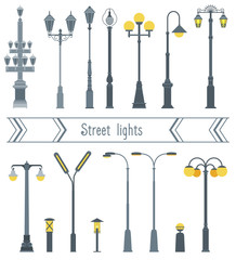 Set of street lanterns in different shapes. The style flat.