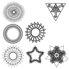 Set sacred geometry abstract elements vector isolated on white background