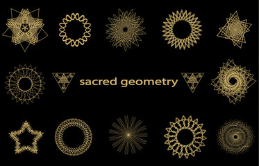 Set sacred geometry abstract elements vector isolated on black background