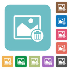 Delete image rounded square flat icons