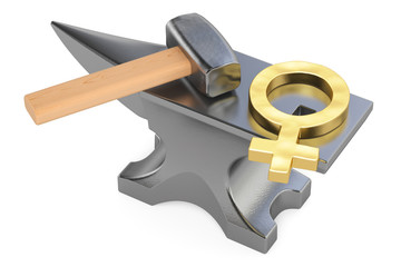 anvil with female gander symbol, 3D rendering