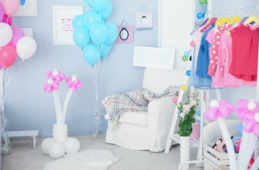 Interior of beautiful room decorated for birthday celebration