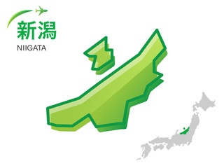 新潟県の地図:イラスト素材