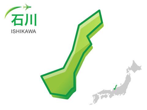 石川県の地図:イラスト素材