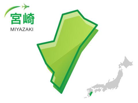 宮崎県の地図:イラスト素材