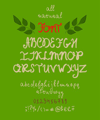 All natural font. Hand written alphabet for natural organic products. Vector illustration.
