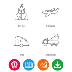 Transportation icons. Cruise, airplane and van linear signs. Evacuator flat line icon. Award medal, growth chart and opened book web icons. Download arrow. Vector