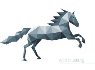 Polygonal Horse Low Poly Isolated Animal Triangular Illustration