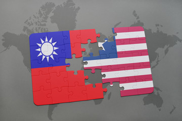 puzzle with the national flag of taiwan and liberia on a world map