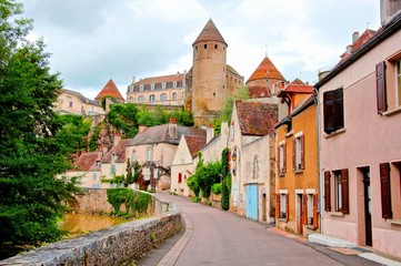 Fototapete - View toward the ancient fortified town of Semur en Auxois, Burgundy, France